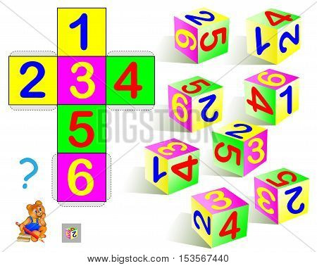 Logic puzzle. Find the only one cube that corresponds to pattern. Vector  image.