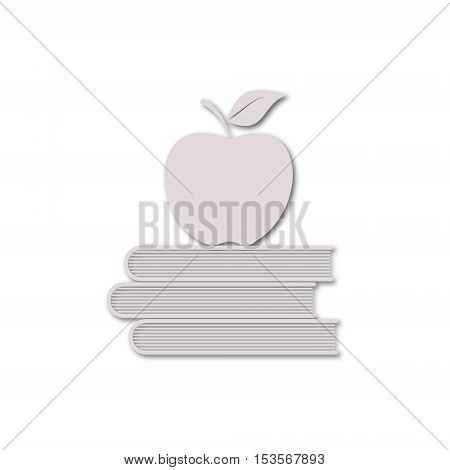 Education icons, Vector book with apple on white background