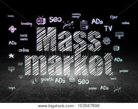 Advertising concept: Glowing text Mass Market,  Hand Drawn Marketing Icons in grunge dark room with Dirty Floor, black background