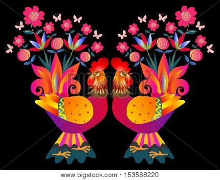 Two bright colorful cockerels - Vases with flowers. Beautiful card with bright birds on black background. Chinese symbol of 2017 - Year of the rooster.
