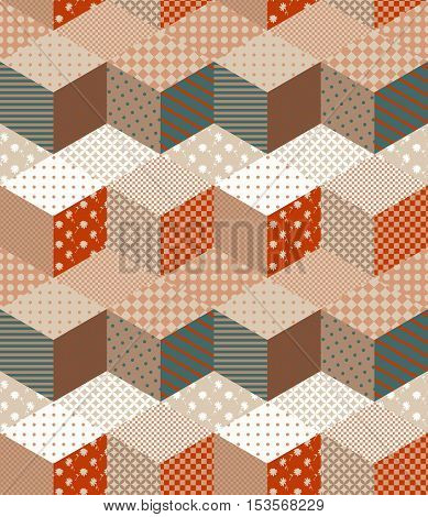 Seamless patchwork pattern in warm colors. Decorative zigzag ornament.