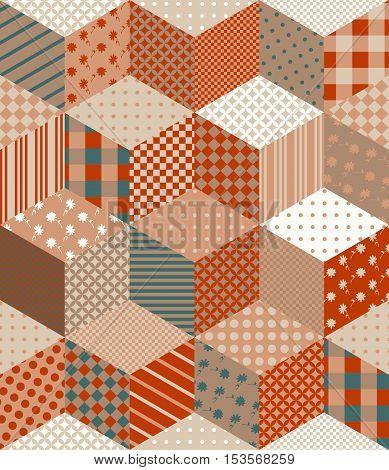Seamless patchwork pattern in brown tones. Vector illustration of quilt.