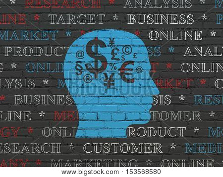 Marketing concept: Painted blue Head With Finance Symbol icon on Black Brick wall background with  Tag Cloud