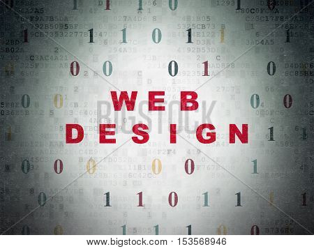 Web development concept: Painted red text Web Design on Digital Data Paper background with Binary Code
