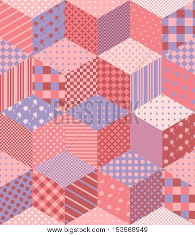 Patchwork in pink and lilac tones with floral and geometric patches. Colorful seamless pattern. Vector illustration of quilt.