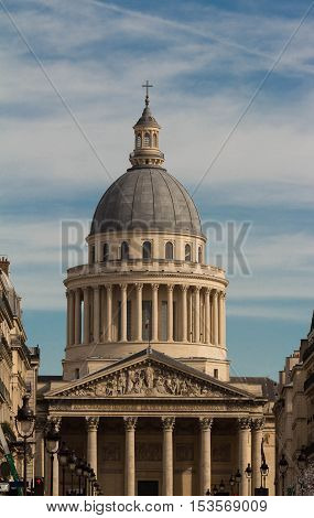 The Pantheon is a secular mausoleum containing the remains of distinguished French citizens.Located in the 5th arrondissement of Paris on the Mountain of Saint Genevieve it looks out over all of Paris.