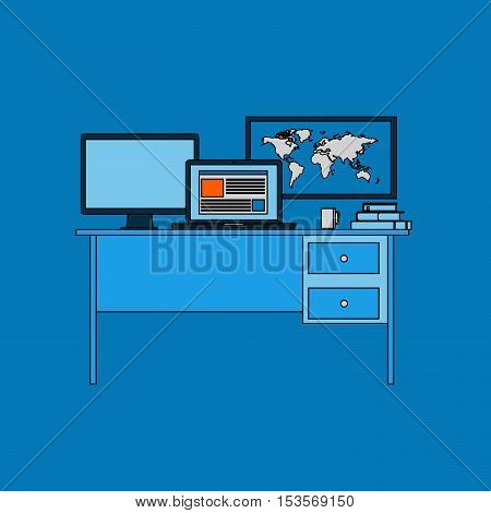 The computer and monitor, a book and a Cup of tea, a map of the world and the organization of space