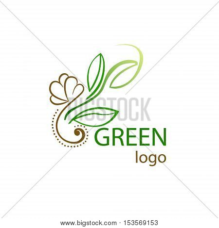 Vector logo with leaf isolated on white background