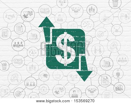 Finance concept: Painted green Finance icon on White Brick wall background with Scheme Of Hand Drawn Business Icons