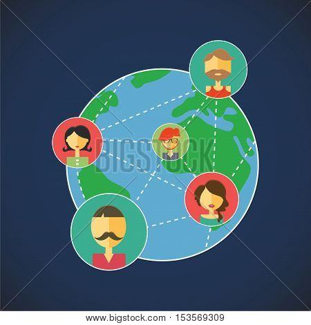 Vector planet, online communication allows you to communicate