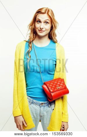 young pretty red hair woman happy smiling isolated on white background, lifestyle people concept close up