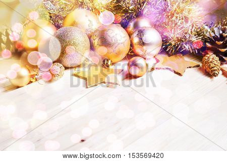 Christmas And New Year Gold Balls Decoration