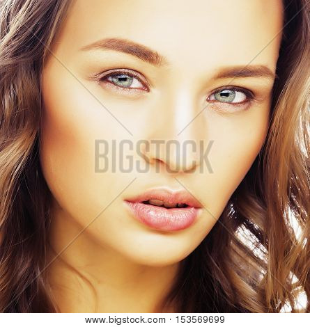 young sweet brunette woman close up isolated on white background, perfect pure beautiful, spa people concept