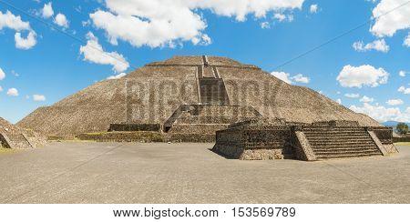 Pyramid of the Sun in San Juan Teotihuacan Mexico is the biggest pyramid in Teotihuacan.