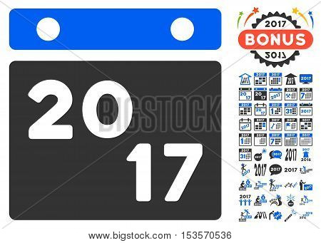 2017 Calendar icon with bonus 2017 new year design elements. Vector illustration style is flat iconic symbols, modern colors.