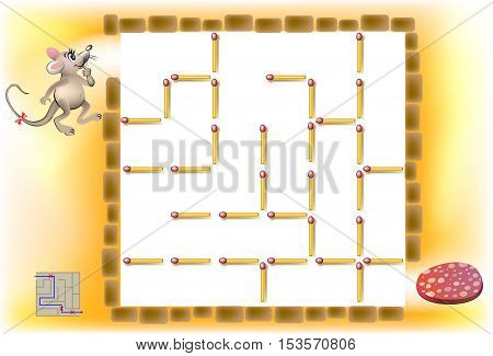 Logic puzzle with labyrinth. Need to remove three matchsticks so that the mouse could walk till the sausage. Vector image.