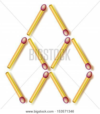 Logic puzzle. Move two matchsticks to make six rhombuses. Vector image.