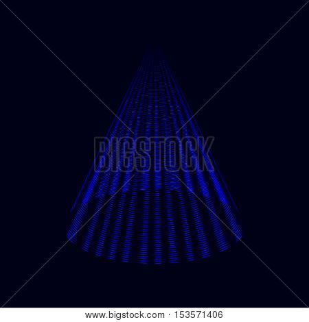 Modern royal blue Christmas tree laser cone vector background icon