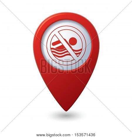 Swimming prohibited sign on map pointer, vector illustration
