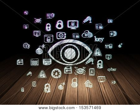Privacy concept: Glowing Eye icon in grunge dark room with Wooden Floor, black background with  Hand Drawn Security Icons