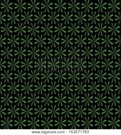 Grass green rotating fans floral periodic pattern seamless vector background