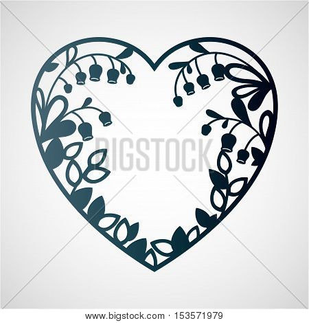 Silhouette of the heart with lilies of the valley. Laser cutting template for greeting cards envelopes wedding invitations interior decorative elements.