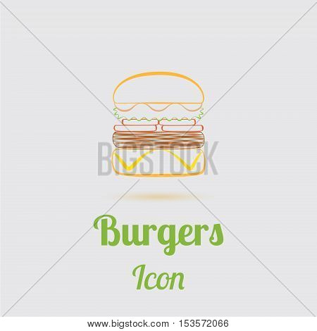 Contour Colored Icon of Tasty Burger with Cheese, Sauce, Salad and Tomatos. Emblem of Popular Fast Food. Vector EPS 10