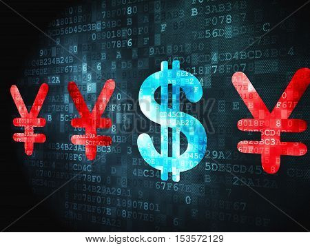Currency concept: pixelated Dollar And Yen icon on digital background