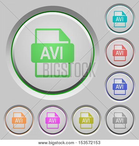 AVI file format color icons on sunk push buttons
