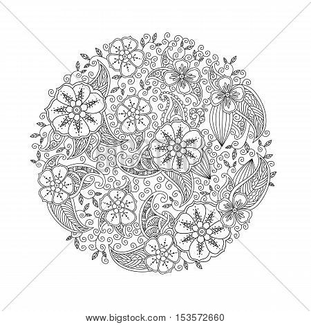 Mendie Mandala with flowers and leaves. Zenart inspired style. Can be used for coloring book. Art vector illustration