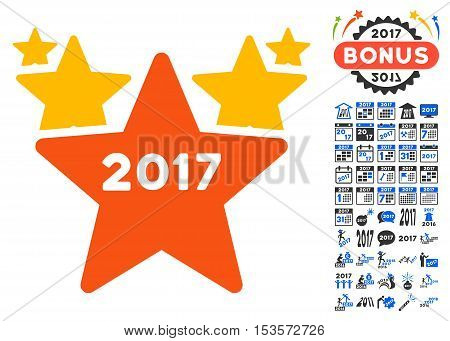 2017 Star Hit Parade pictograph with bonus 2017 new year pictograms. Vector illustration style is flat iconic symbols, modern colors.