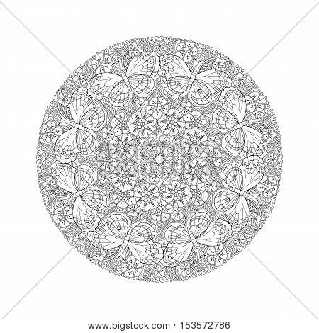 Round detailed Mendie Mandala with butterflies on the meadow. Can be used for coloring book. Vector illustration