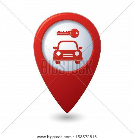 Parking for car icon on map pointer, vector illustration