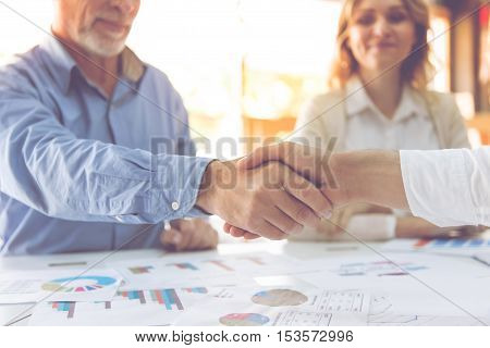 Cropped image of business people shaking their hands while working in office