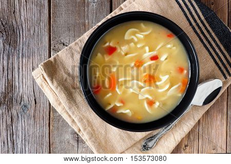 Traditional Chicken Noodle Soup, Above Scene On A Rustic Wooden Background