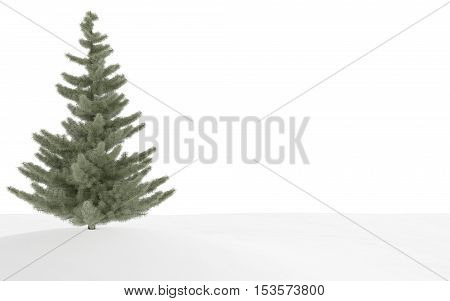 A 3d render of a lone evergreen tree in snow.