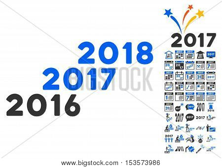 From 2016 to 2018 Years icon with bonus 2017 new year pictograms. Vector illustration style is flat iconic symbols, modern colors.