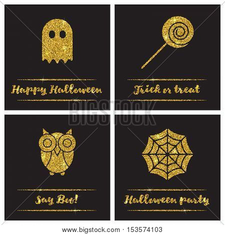 Set of Halloween gold textured icons on black background.