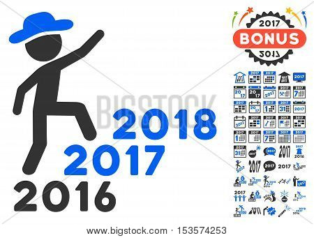 Gentleman Steps Years pictograph with bonus 2017 new year icon set. Vector illustration style is flat iconic symbols, modern colors.