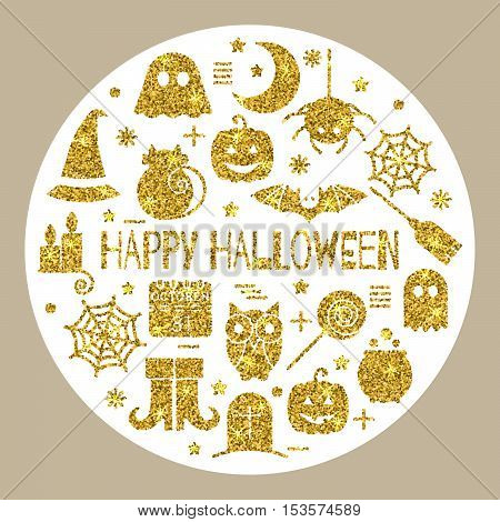 Halloween gold icons set in circle shape on white background.