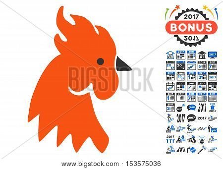 Red Rooster pictograph with bonus 2017 new year images. Vector illustration style is flat iconic symbols, modern colors.