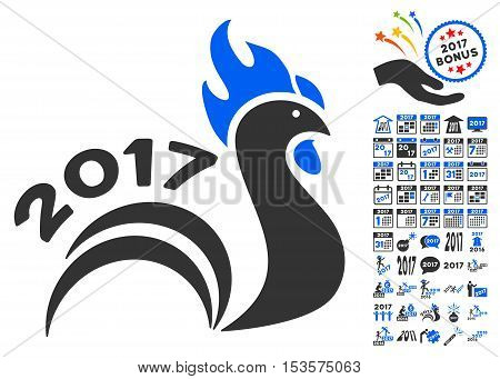 Rooster 2017 icon with bonus 2017 new year pictograph collection. Vector illustration style is flat iconic symbols, modern colors.