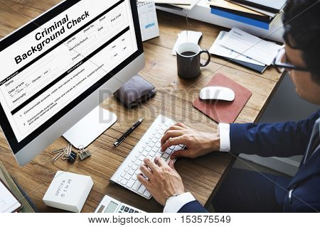 Criminal Background Check Insurance Form Concept