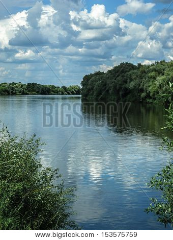 Natural river landscape with trees and white fluffy clouds