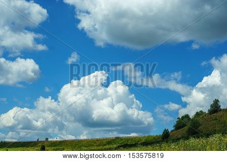 Bright blue sky with high clouds, natural scenery, the road on the hill