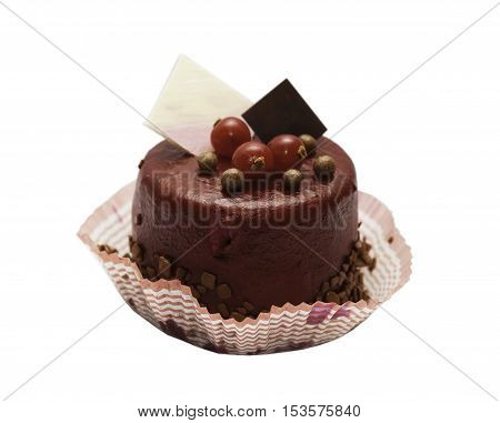 chocolate cake with berries on white background
