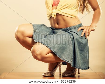 Closeup Of Sexy Woman Legs In High Heels And Skirt