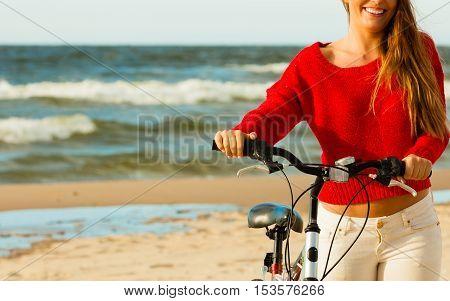 Fashionable Girl With Bike Outdoor.