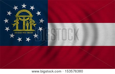 Flag of the US state of Georgia. American patriotic element. USA banner. United States of America symbol. Georgian official flag wavy with detailed fabric texture illustration. Accurate size colors