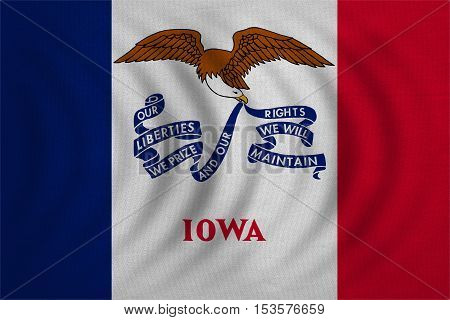 Flag of the US state of Iowa. American patriotic element. USA banner. United States of America symbol. Iowan official flag wavy with real detailed fabric texture illustration. Accurate size colors